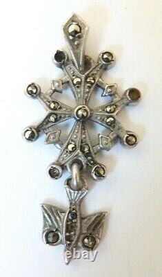 SAINT ESPRIT pendentif argent massif + marcassite 19e silver holly st spirit