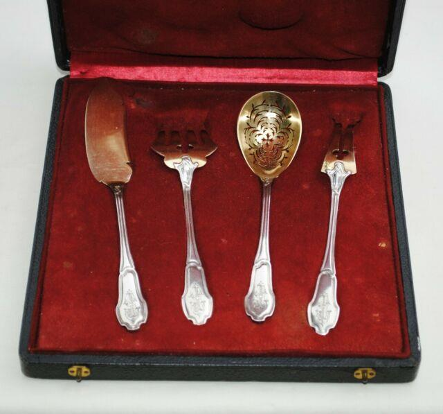 Service A Hors D'oeuvres Argent Massif Vermeil Art Nouveau Sterling Silver