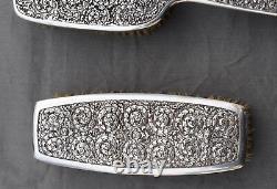 SERVICE DE TOILETTE argent massif CHINE INDOCHINE (silver chinese brush mirror)