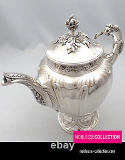 SOUFFLOT UNIQUE ANTIQUE 1880s FRENCH STERLING SILVER COFFEE POT EMPIRE st. 975g