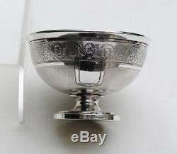 SUITE DE 4 TASSES EN ARGENT MASSIF GUILLOCHE Sterling Silver 4pc Cups & Saucers