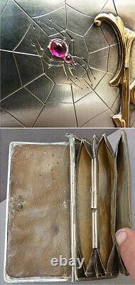Sac ARGENT massif russe araignée 19e siècle Russie jewel silver bag spider