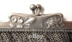 Sac COTE DE MAILLE argent massif ART NOUVEAU vers 1900 silver bag bourse