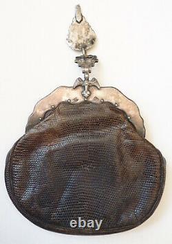 Sac bourse 17e ou 18e siècle Pays-Bas Netherland Argent massif + cuir silver bag