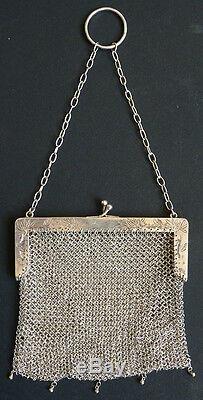 Sac bourse aumonière cote de maille argent massif 19e s silver bag China 105 g