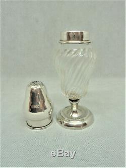 Saupoudreuse Argent Massif Cristal Solid Silver Sprinkler Shaker Sugar Sucrier