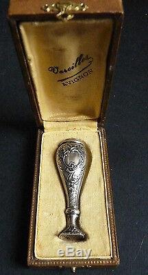 Sceau cachet ARGENT fin du 19e siècle initiales M. B style Louis XV silver seal