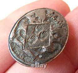 Sceau cachet argent 17e s armoiries blason écusson Marquis aigle silver seal
