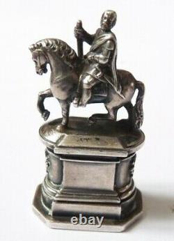 Sceau cachet argent massif 19e siècle statue équestre Medicis seal sello silver