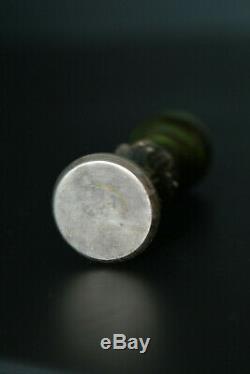Sceau cachet en Argent massif et agate Notre Dame de Lourdes silver seal stamp