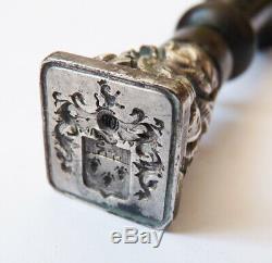 Sceau cachet seal en argent 19e siècle avec armoiries blason tampon silver