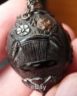 Secouette tabatière en corozo et argent massif début 19e siècle silver coconut