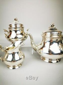 Service à café et thé en argent massif minerve 957g French antic silver