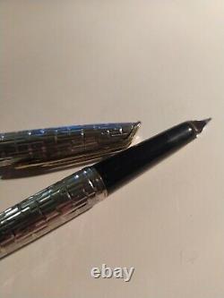 Stylo Plume Waterman CF Crocodile Argent Massif Plume Or 18K Silver Fountain Pen