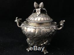 Sucrier aux Fraises Argent Massif XIX ème Minerve Antique Sugar Bowl 19th Silver