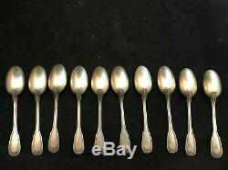 Suite de 10 petites cuillères à Café Silver Argent Massif Minerve