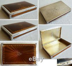 Superbe Boite tabatière argent massif + email vers 1920 silver box enamel 147 gr