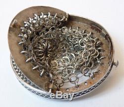 Superbe Bourse aumônière cote de maille ARGENT massif silver purse