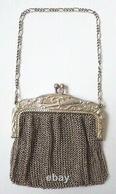 Superbe Bourse aumônière cote de maille ARGENT sac massif silver purse