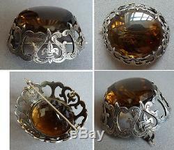 Superbe Enorme broche argent massif et quartz silver brooch fleur de lys 19e s