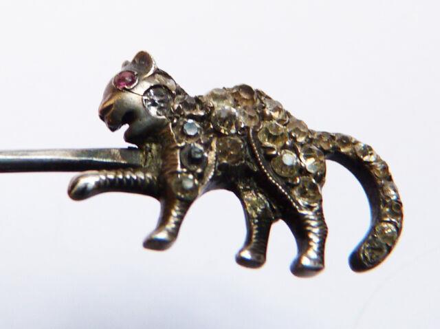 Superbe Epingle épingle Chat 19e Siècle Argent Massif Silver Cat Stick Pin