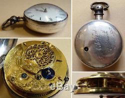 Superbe Montre à gousset ARGENT massif JOHNSTONE London 18e s à coq silver watch