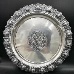Superbe Plateau En Argent Massif Asiatique Solid Silver