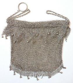Superbe Sac Bourse aumonière cote de maille ARGENT massif 19e s silver bag 120 G