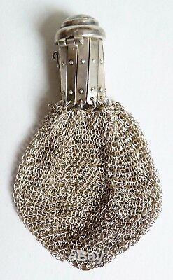 Superbe Sac Bourse aumonière cote de maille ARGENT massif Portugal silver bag