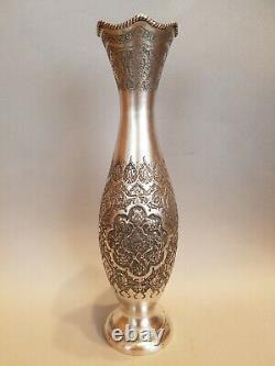 Superbe Vase Argent Massif Iran / Persian Carved Sterling Silver Vase 270 G