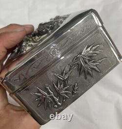 Superbe boite ouvragée en argent massif Asiatique Chinois Antique box Silver