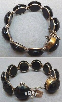 Superbe bracelet 19e siècle en vermeil et jais Bijou de deuil bracelet silver