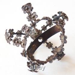 Superbe couronne de statue argent massif filigrane 19e siècl bijou silver crown