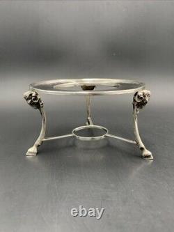 Support de réchaud argent massif tête bélier c. 1900 Antique silver warmer stand