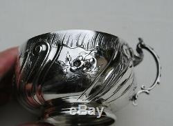 TASSE EN ARGENT MASSIF LOUIS XV ROCAILLE FLEURS Sterling Silver Cup & Saucer
