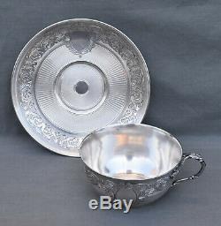 TASSE SOUS TASSE A CHOCOLAT ARGENT MASSIF MINERVE 19 EME ST LOUIS XVI silver cup