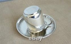 TASSE et SOUS TASSE ARGENT MASSIF Orfévre BOULENGER antique silver coffe cup