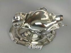 TETARD Superbe saucière et son dormant Argent massif French antic silver