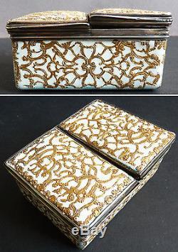 Tabatière Boite ARGENT massif + émail 18e s miniature oriental silver enamel box