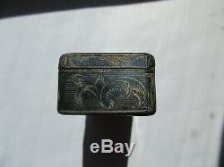 Tabatière ancienne en argent russe niellé Imperial Russian silver snuff box