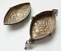 Tabatière boite en argent massif + émail 19e siècle Perse Ottoman silver box
