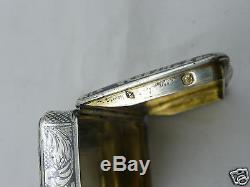 Tabatière en argent massif niellé et vermeil XIX 19 eme snuff box silver 19th