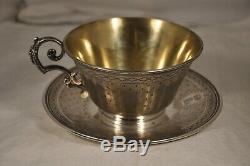 Tasse Dejeuner Chocolat Argent Massif Armoiries Antique Solid Silver Cup 256gr
