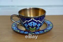 Tasse à Café et Soucoupe Emaillé en Argent Russian Cloisonne Silver Coffee Cup