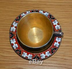 Tasse à Café et Soucoupe Vermeil Emaillé Russian Cloisonne Silver Coffee Cup