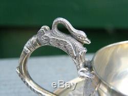 Tasse à café et Soucoupe en Argent Massif Silver Silber Style Empire Cygne
