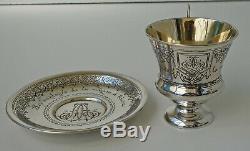 Tasse sur Piédouche et Sous-tasse Argent Massif Russe de 1892 Russian Silver 84