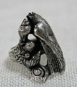 Toulhoat Bague Ouverte 5 Coquillages Argent Massif Silver Bretagne Celtique