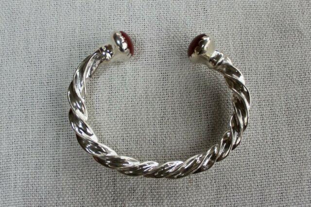 Toulhoat Bracelet Torque A Sertis Ovale Pierre Cornaline Argent Massif Silver Br
