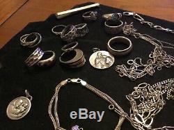 Très jolie Lot bijoux argent Massif Bagues bracelets chaînes. Jewels silver